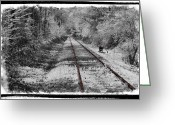 Snow Scenes Greeting Cards - Rusty Rails Greeting Card by Debra and Dave Vanderlaan
