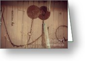 Saw Blades Greeting Cards - Rusty Saw Blades Greeting Card by Christy Beal