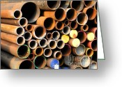Diameter Greeting Cards - Rusty Steel Pipes Greeting Card by Yali Shi