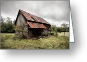 Old Barn Greeting Cards - Rusty Tin Roof Barn Greeting Card by Gary Heller