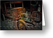 Window Prints Posters Greeting Cards - RUSTY Travels Greeting Card by Jerry Cordeiro