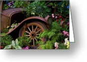 Flowerbed Greeting Cards - Rusty truck in the garden Greeting Card by Garry Gay