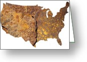 United States Map Greeting Cards - Rusty USA map Greeting Card by Tony Cordoza