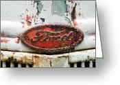 Vintage Signs Greeting Cards - Rusty Vintage White Ford Sign Greeting Card by Anahi DeCanio
