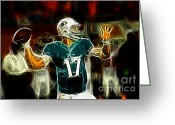 Miami Dolphins Greeting Cards - Ryan Tannehill - Miami Dolphin Quarterback Greeting Card by Paul Ward