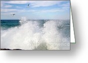 Crashing Waves Greeting Cards - S P L A S H Greeting Card by Kaye Menner