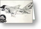 Jet Drawings Greeting Cards - S3 Viking Greeting Card by Mark Jennings