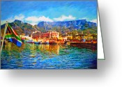 African Mountain Greeting Cards - SA Flag at the Waterfront Greeting Card by Michael Durst