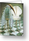 Surrealistic Painting Greeting Cards - Saba Greeting Card by Lolita Bronzini