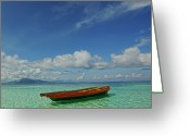 Horizon Over Water Greeting Cards - Sabah - Semporna Greeting Card by By Toonman
