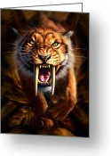 Face Greeting Cards - Sabertooth Greeting Card by Jerry LoFaro