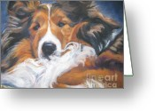 Sheepdog Greeting Cards - Sable Shetland Sheepdog Greeting Card by Lee Ann Shepard
