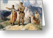 Trader Greeting Cards - Sacagawea with Lewis and Clark during their expedition of 1804-06 Greeting Card by Newell Convers Wyeth