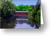 Landscape Posters Digital Art Greeting Cards - Sachs Covered Bridge in Gettysburg  Greeting Card by Bill Cannon