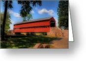 Gettysburg Greeting Cards - Sachs Covered Bridge Greeting Card by Lois Bryan