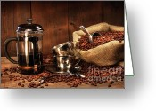 Coffee Beans Greeting Cards - Sack of coffee beans with french press Greeting Card by Sandra Cunningham
