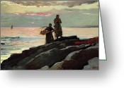 Pink Dawn Greeting Cards - Saco Bay Greeting Card by Winslow Homer