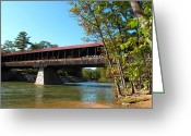 Saco River Greeting Cards - Saco River and Covered Bridge Greeting Card by Barbara McDevitt