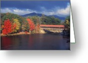 Saco River Greeting Cards - Saco River Covered Bridge Storm Greeting Card by John Burk