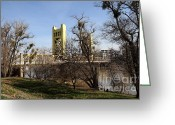 Tong River Greeting Cards - Sacramento California Tower Bridge Crossing The Sacramento Delta River . 7D11395 Greeting Card by Wingsdomain Art and Photography