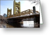 Sacramento River Greeting Cards - Sacramento California Tower Bridge Crossing The Sacramento Delta River . 7D11446 Greeting Card by Wingsdomain Art and Photography