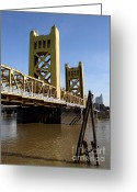 Tong River Greeting Cards - Sacramento California Tower Bridge Crossing The Sacramento Delta River . 7D11452 Greeting Card by Wingsdomain Art and Photography