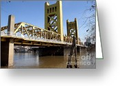 Sacramento River Greeting Cards - Sacramento California Tower Bridge Crossing The Sacramento Delta River . 7D11454 Greeting Card by Wingsdomain Art and Photography