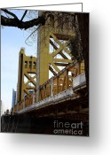 Sacramento River Greeting Cards - Sacramento California Tower Bridge Crossing The Sacramento Delta River . 7D11460 Greeting Card by Wingsdomain Art and Photography