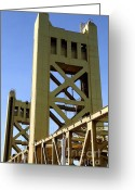 Sacramento River Greeting Cards - Sacramento California Tower Bridge Crossing The Sacramento Delta River . 7D11551 Greeting Card by Wingsdomain Art and Photography