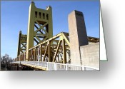Sacramento River Greeting Cards - Sacramento California Tower Bridge Crossing The Sacramento Delta River . 7D11553 Greeting Card by Wingsdomain Art and Photography