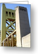 Tong River Greeting Cards - Sacramento California Tower Bridge Crossing The Sacramento Delta River . 7D11563 Greeting Card by Wingsdomain Art and Photography