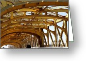 Tong River Greeting Cards - Sacramento California Tower Bridge Crossing The Sacramento Delta River . 7D11567 Greeting Card by Wingsdomain Art and Photography