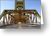 Tong River Greeting Cards - Sacramento California Tower Bridge Crossing The Sacramento Delta River . 7D11569 Greeting Card by Wingsdomain Art and Photography