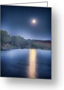 Moonrise Digital Art Greeting Cards - Sacramento River Moonrise Greeting Card by Reed Tim