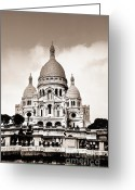 Church Greeting Cards - Sacre Coeur Basilica in Paris Greeting Card by Elena Elisseeva