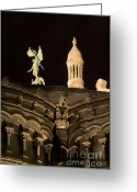 Byzantine Greeting Cards - Sacre Coeur by night VI Greeting Card by Fabrizio Ruggeri