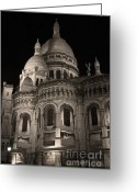 Byzantine Greeting Cards - Sacre Coeur by night VII Greeting Card by Fabrizio Ruggeri