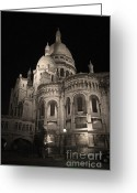 Byzantine Greeting Cards - Sacre Coeur by night VIII Greeting Card by Fabrizio Ruggeri