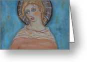 Religious Art Painting Greeting Cards - Sacred Angel Greeting Card by Rain Ririn