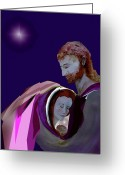 Christ Child Greeting Cards - Sacred Family Greeting Card by AnDe Herbert