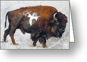 Buffalo Painting Greeting Cards - Sacred Gift Greeting Card by J W Baker