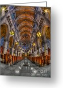 Religious Building Greeting Cards - Sacred Heart Basilica Greeting Card by Susan Candelario