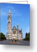 Stained Glass Ireland Greeting Cards - Sacred Heart Church Roscommon Ireland Greeting Card by Teresa Mucha