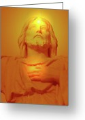 Jesus Christ Icon Mixed Media Greeting Cards - Sacred Heart No. 01 Greeting Card by Ramon Labusch