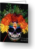 Bright Sculpture Greeting Cards - Sacred Heart Sugar Skull Mask Greeting Card by Mitza Hurst