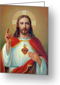 Spirituality Digital Art Greeting Cards - Sacred Heart Greeting Card by Svitozar Nenyuk