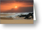 Golden Sand Greeting Cards - Sacred Journeys - Song of the Sea - Sunset Paako Beach Maui Hawaii Greeting Card by Sharon Mau
