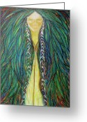 Spiritual Pastels Greeting Cards - Sacred Teacher Greeting Card by Rena Marzouk
