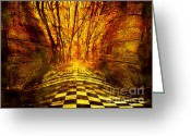 Celt Greeting Cards - Sacred Temple of the Trees Greeting Card by Jenny Rainbow