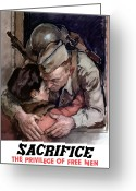 Second Greeting Cards - Sacrifice The Privilege Of Free Men Greeting Card by War Is Hell Store